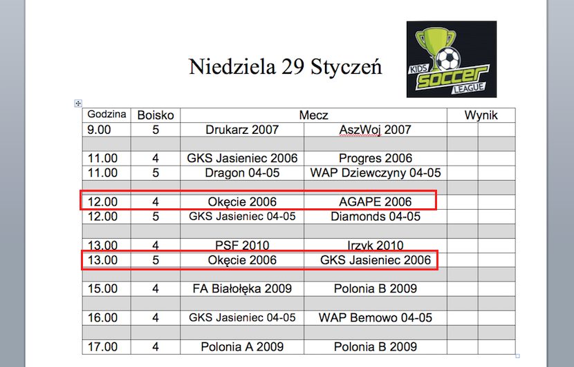 Niedzielne mecze rocznika 2006 w Kids Soccer League.